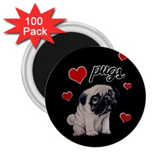 Love Pugs 2 25  Magnets (100 Pack)  by Valentinaart