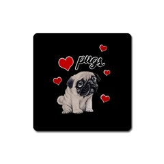Love Pugs Square Magnet by Valentinaart