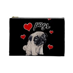 Love Pugs Cosmetic Bag (large)  by Valentinaart