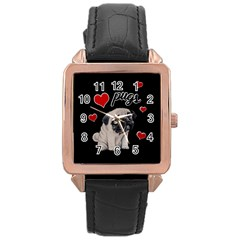 Love Pugs Rose Gold Leather Watch  by Valentinaart