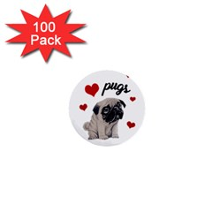 Love Pugs 1  Mini Buttons (100 Pack)  by Valentinaart