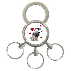 Love Pugs 3 Ring Key Chains by Valentinaart