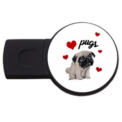 Love Pugs Usb Flash Drive Round (2 Gb) by Valentinaart