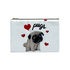 Love Pugs Cosmetic Bag (medium)  by Valentinaart