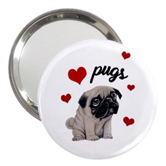 Love Pugs 3  Handbag Mirrors by Valentinaart