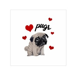 Love Pugs Small Satin Scarf (square) by Valentinaart