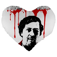 Pablo Escobar  Large 19  Premium Heart Shape Cushions by Valentinaart