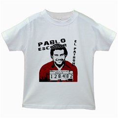 Pablo Escobar  Kids White T Shirts by Valentinaart