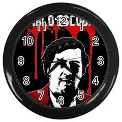 Pablo Escobar  Wall Clocks (black) by Valentinaart