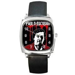 Pablo Escobar  Square Metal Watch by Valentinaart