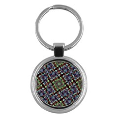 Colorful Floral Collage Pattern Key Chains (round)  by dflcprints