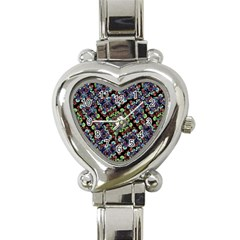 Colorful Floral Collage Pattern Heart Italian Charm Watch by dflcprints