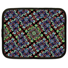 Colorful Floral Collage Pattern Netbook Case (large) by dflcprints