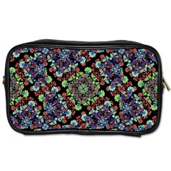 Colorful Floral Collage Pattern Toiletries Bags by dflcprints