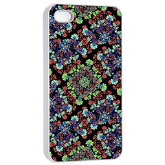 Colorful Floral Collage Pattern Apple Iphone 4/4s Seamless Case (white) by dflcprints