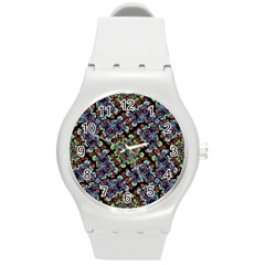Colorful Floral Collage Pattern Round Plastic Sport Watch (m) by dflcprints