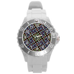 Colorful Floral Collage Pattern Round Plastic Sport Watch (l) by dflcprints