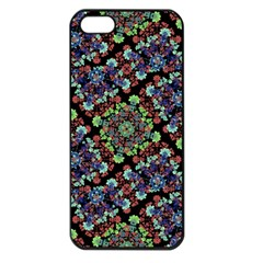 Colorful Floral Collage Pattern Apple Iphone 5 Seamless Case (black) by dflcprints