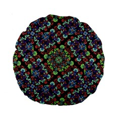 Colorful Floral Collage Pattern Standard 15  Premium Round Cushions by dflcprints