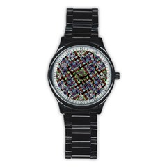 Colorful Floral Collage Pattern Stainless Steel Round Watch by dflcprints