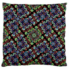 Colorful Floral Collage Pattern Large Flano Cushion Case (one Side) by dflcprints