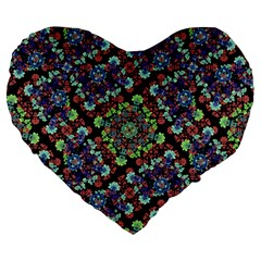 Colorful Floral Collage Pattern Large 19  Premium Flano Heart Shape Cushions by dflcprints