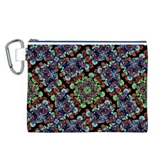 Colorful Floral Collage Pattern Canvas Cosmetic Bag (l) by dflcprints
