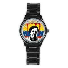 Pablo Escobar Stainless Steel Round Watch by Valentinaart