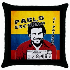 Pablo Escobar Throw Pillow Case (black) by Valentinaart