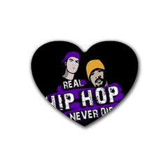 Real Hip Hop Never Die Rubber Coaster (heart)  by Valentinaart