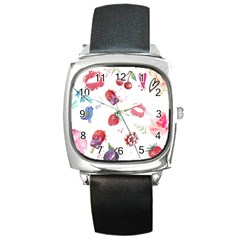 Hand Painted Summer Background  Square Metal Watch by TastefulDesigns