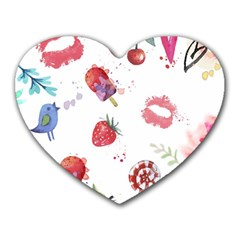 Hand Painted Summer Background  Heart Mousepads by TastefulDesigns