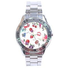 Hand Painted Summer Background  Stainless Steel Analogue Watch by TastefulDesigns