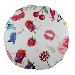 Hand Painted Summer Background  Large 18  Premium Round Cushions by TastefulDesigns