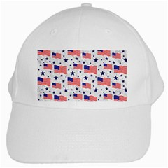 Flag Of The Usa Pattern White Cap by EDDArt
