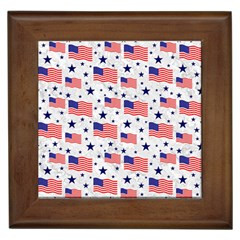 Flag Of The Usa Pattern Framed Tiles by EDDArt
