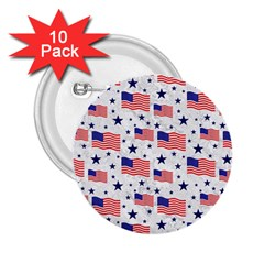 Flag Of The Usa Pattern 2 25  Buttons (10 Pack)  by EDDArt