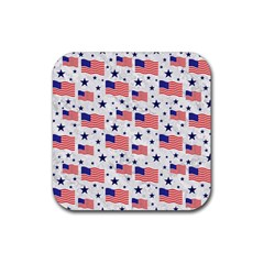 Flag Of The Usa Pattern Rubber Square Coaster (4 Pack)  by EDDArt