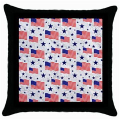 Flag Of The Usa Pattern Throw Pillow Case (black) by EDDArt