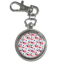 Flag Of The Usa Pattern Key Chain Watches by EDDArt