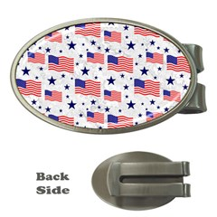 Flag Of The Usa Pattern Money Clips (oval)  by EDDArt