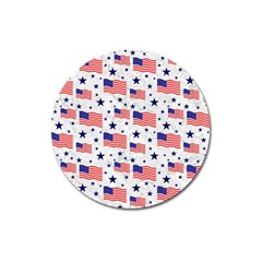 Flag Of The Usa Pattern Magnet 3  (round) by EDDArt
