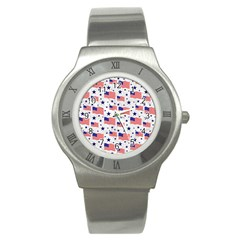 Flag Of The Usa Pattern Stainless Steel Watch by EDDArt