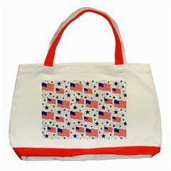 Flag Of The Usa Pattern Classic Tote Bag (red) by EDDArt