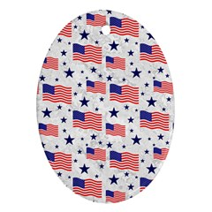 Flag Of The Usa Pattern Oval Ornament (two Sides) by EDDArt