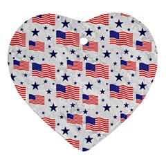 Flag Of The Usa Pattern Heart Ornament (two Sides) by EDDArt