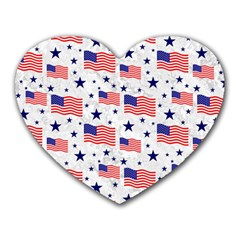 Flag Of The Usa Pattern Heart Mousepads by EDDArt