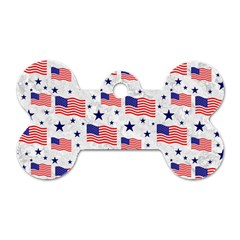 Flag Of The Usa Pattern Dog Tag Bone (two Sides) by EDDArt