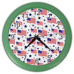 Flag Of The Usa Pattern Color Wall Clocks by EDDArt