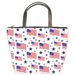 Flag Of The Usa Pattern Bucket Bags by EDDArt
